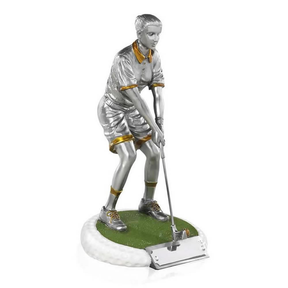 7 Inch On The Green Female Golf Golden Lion Figure Award