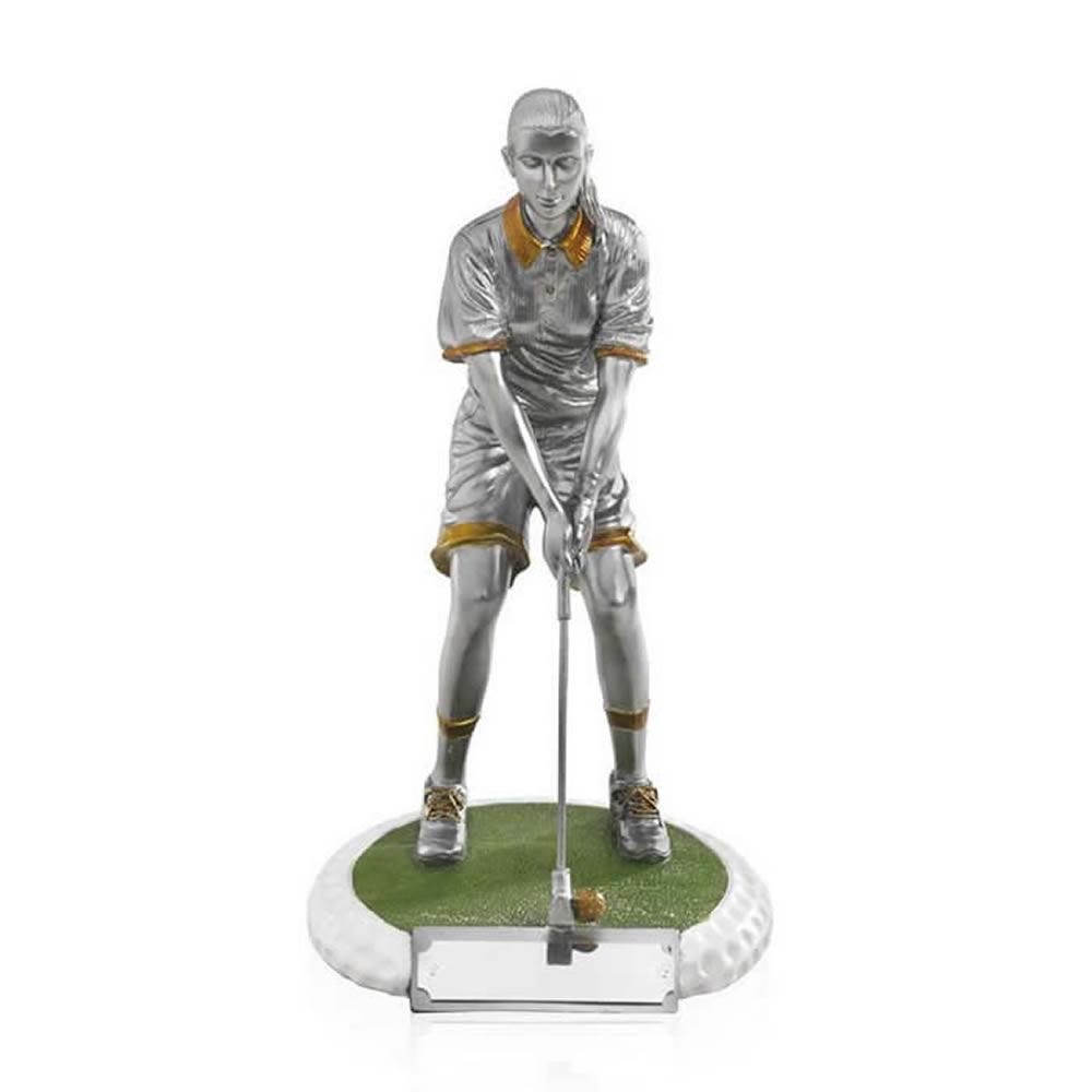 8 Inch On The Green Female Golf Golden Lion Figure Award