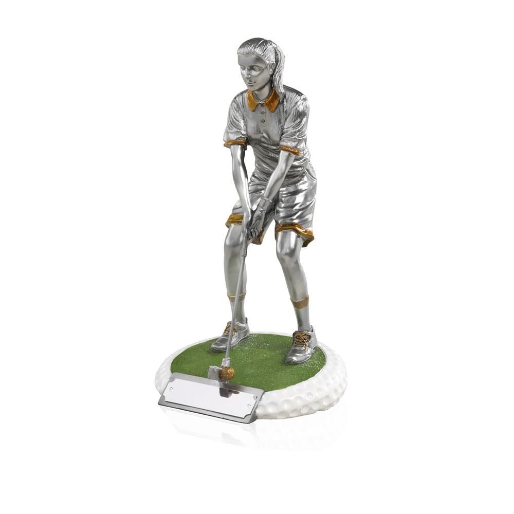 9 Inch On The Green Female Golf Golden Lion Figure Award