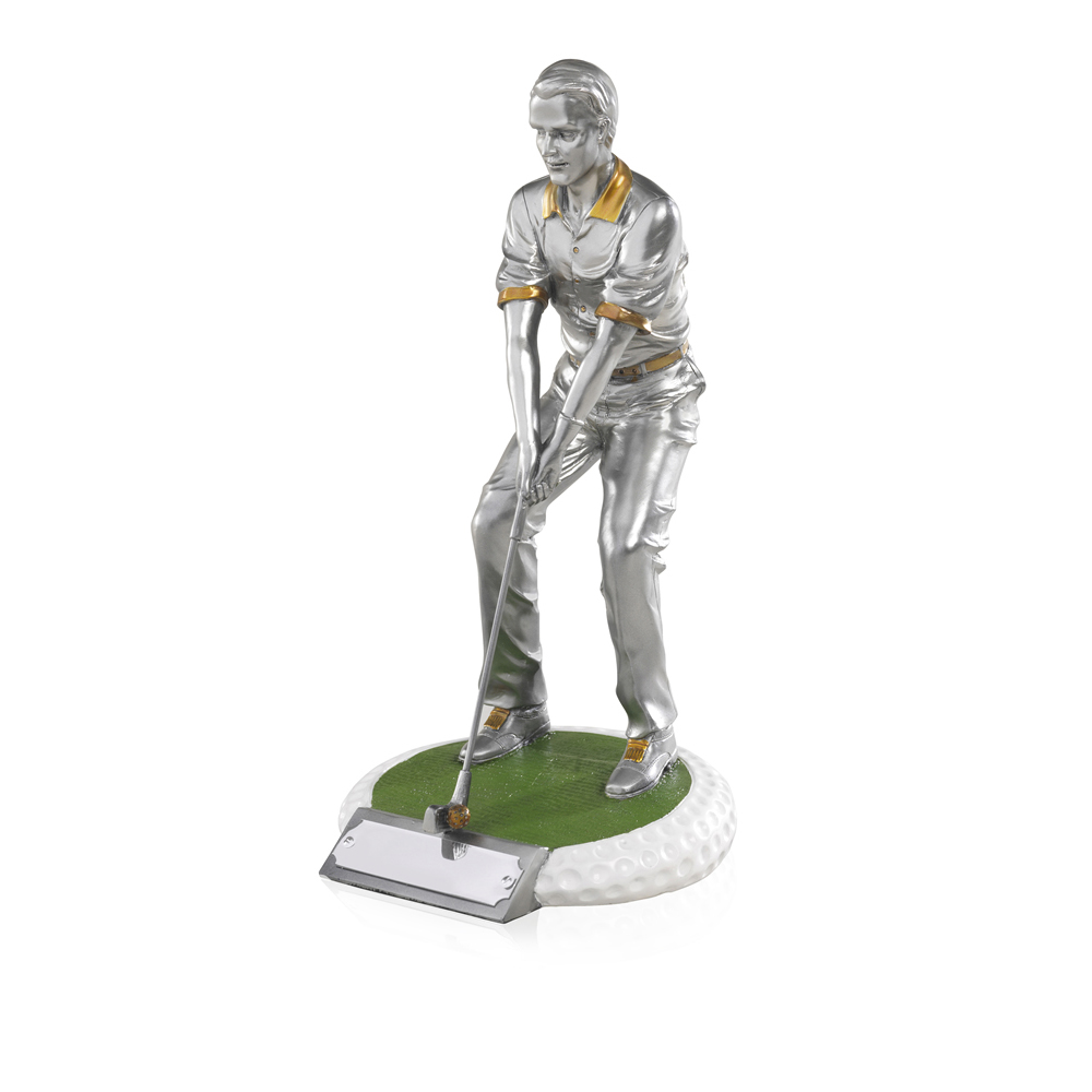 9 Inch On The Green Male Golf Golden Lion Figure Award