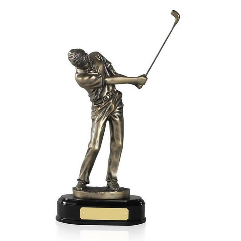 10 Inch Swinging Male Golf Golden Lion Figure Award