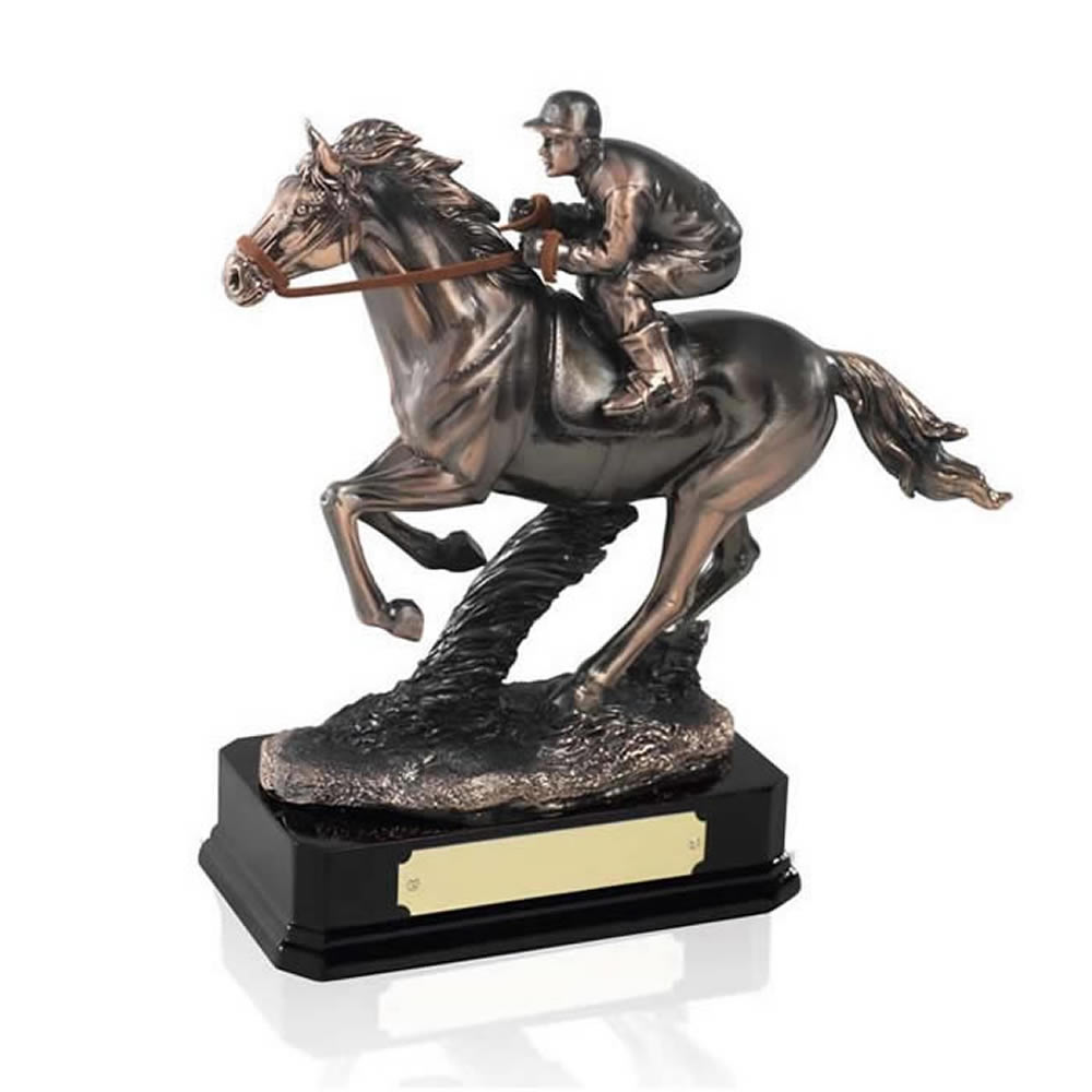 8 Inch Horse Racing Equestrian Golden Lion Sculpture
