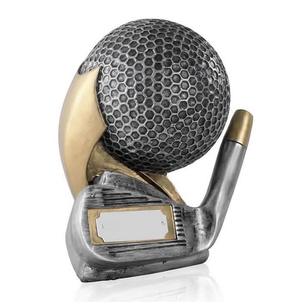 5 Inch Silver Resin Golf Club And Ball Award