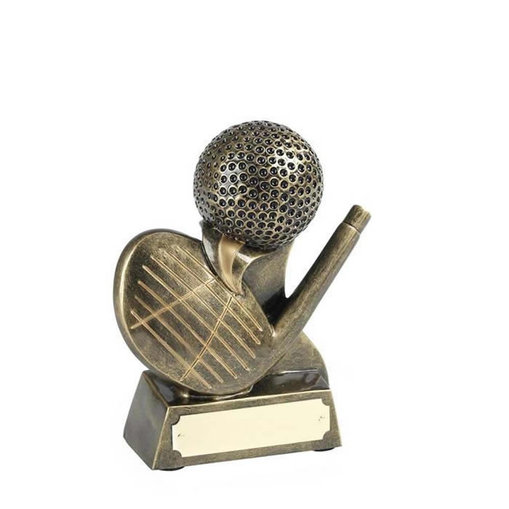 5 Inch Hand Painted Club & Ball Golf Golden Lion Award