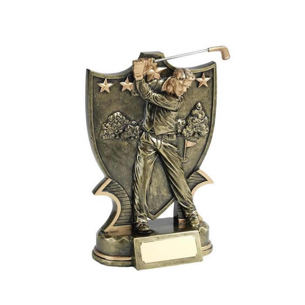 5 Inch Hand Painted Shield & Golfer Golf Golden Lion Award