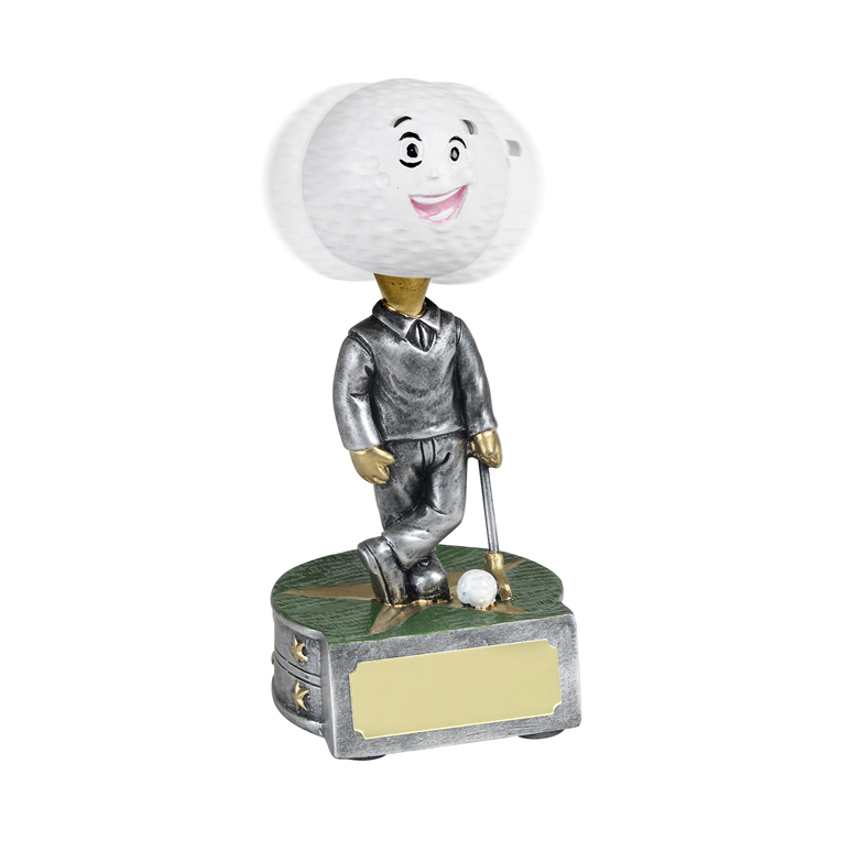 5 Inch Golf Ball Bobble Head Golf Golden Lion Award