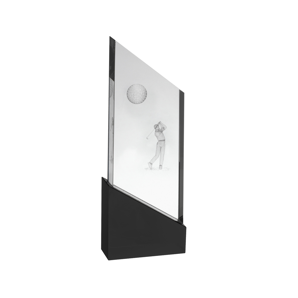 9 Inch Golfer Image On Slanted Base Golf Crystal Award