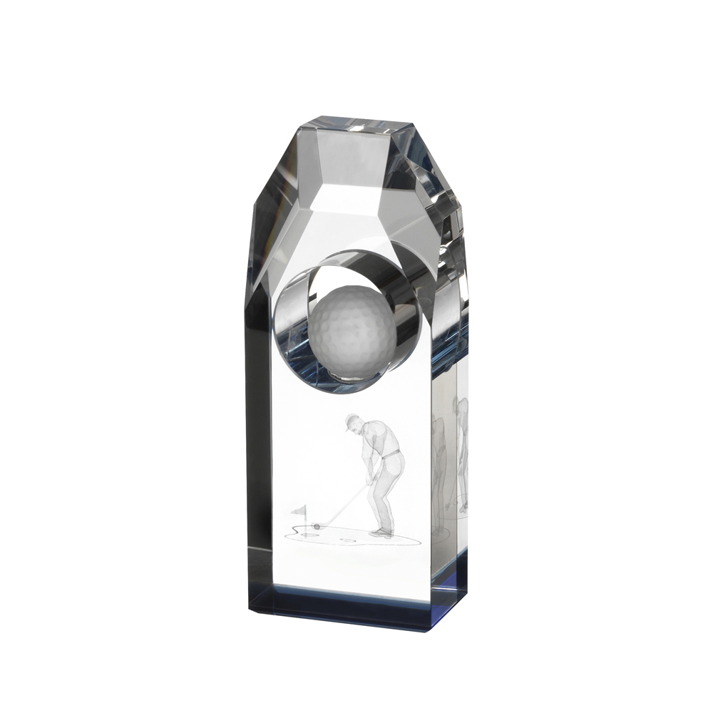 6 Inch Lasered Golfer Image Golf Crystal Award