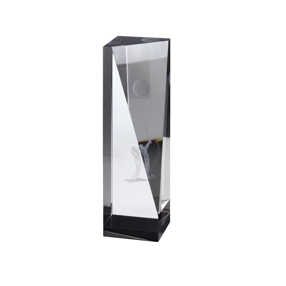 9 Inch Golfer Image & Ball Lasered Inside Golf Crystal Award