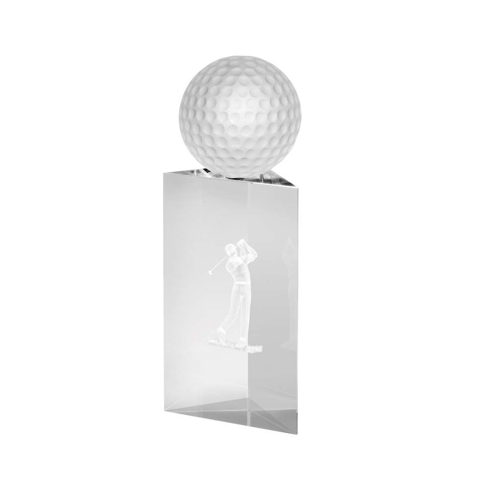 8 Inch Golf Ball On Top Of Prism Golf Crystal Award