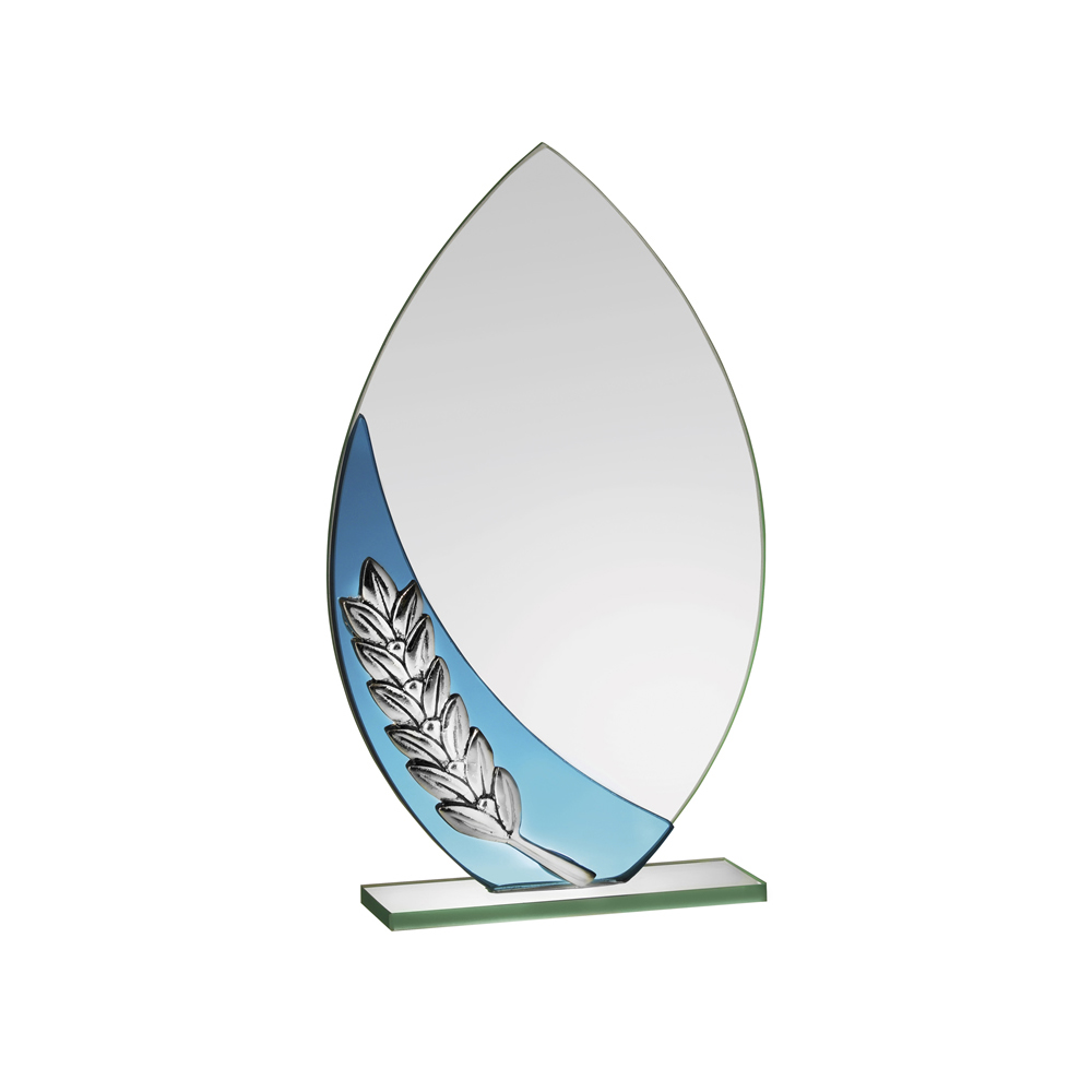 8 Inch Oval Laurel Wreath Crystal Award