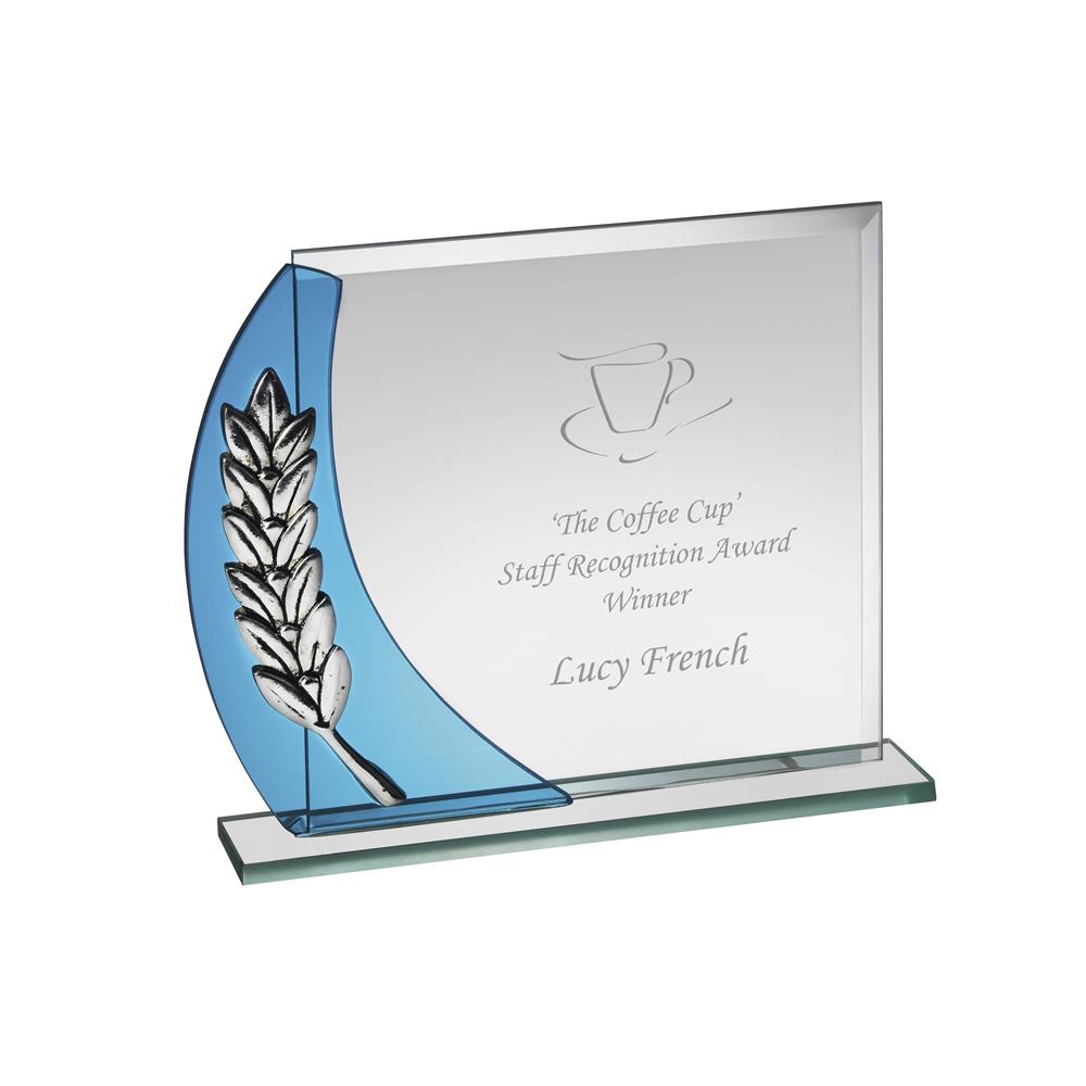 6 x 6 Inch Large Laurel Wreath Crystal Award