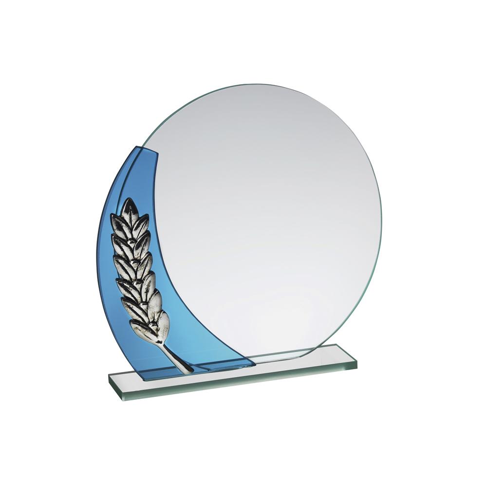 6 Inch Circular Laurel Wreath Crystal Award