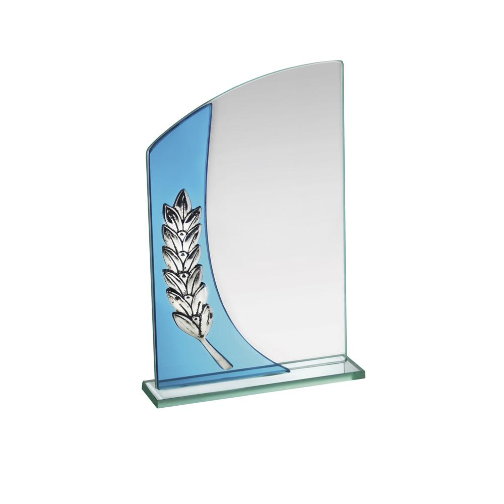 6 Inch Simple Laurel Wreath Crystal Award