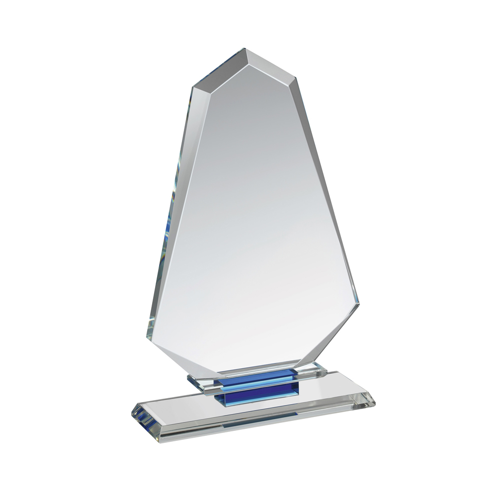7 Inch Tall Arrowhead Clear & Blue Crystal Award