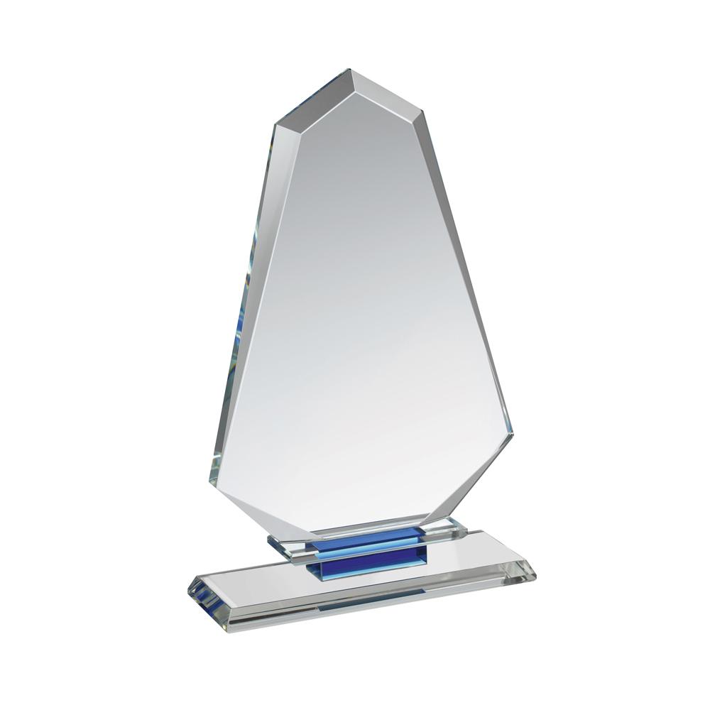 9 Inch Tall Arrowhead Clear & Blue Crystal Award