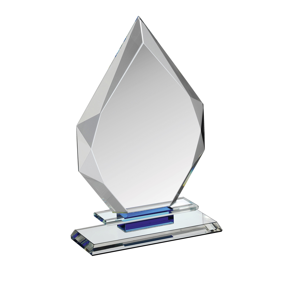 8 Inch Diamond Flame Clear & Blue Crystal Award