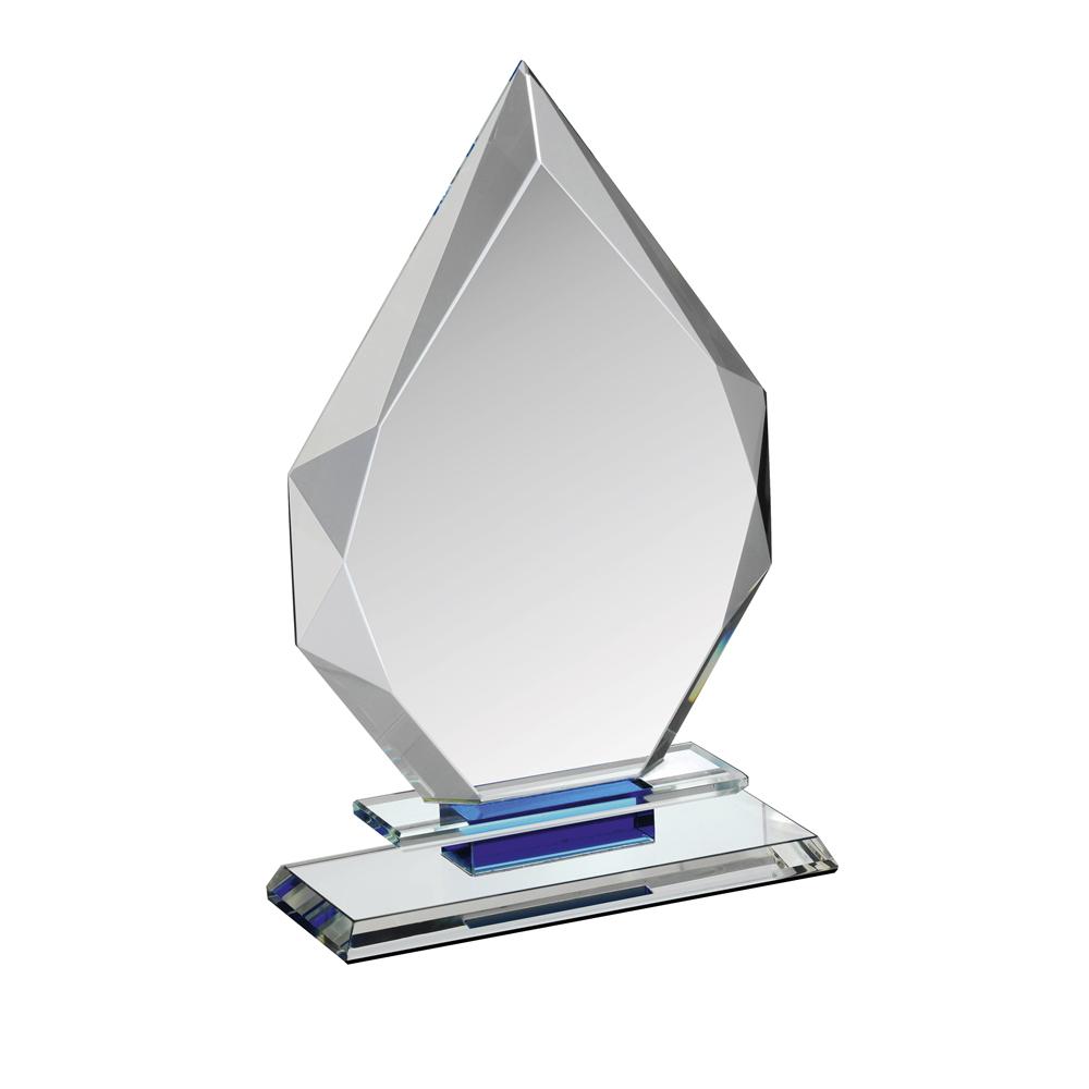 8 Inch Diamond Flame Clear & Blue Crystal Award