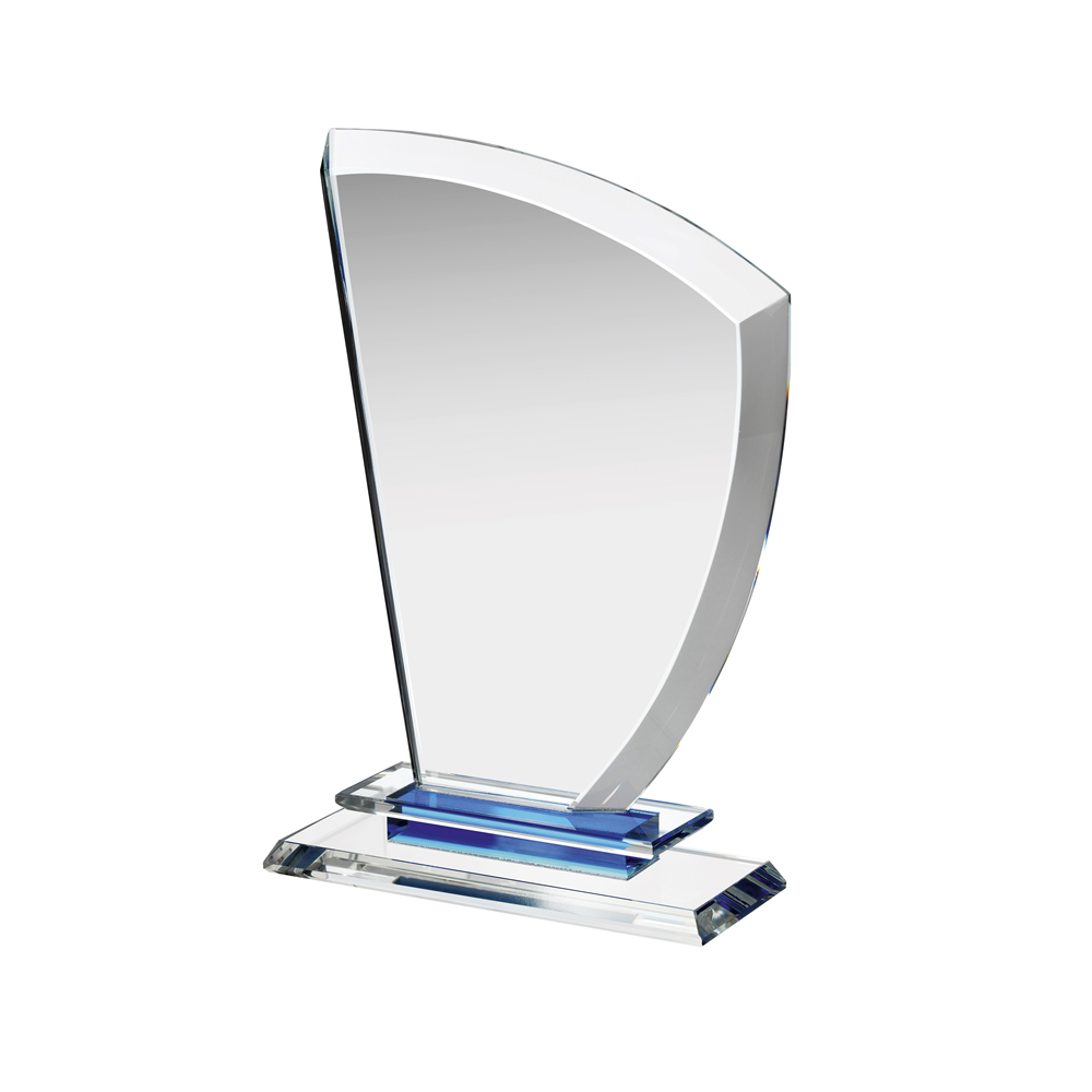 9 Inch Curved Side Sail Clear & Blue Crystal Award