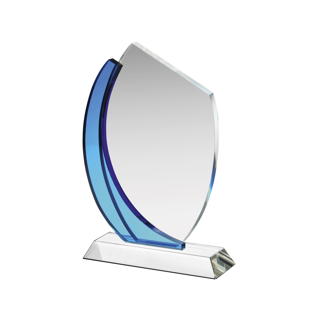 9 Inch Clear & Blue Swirl Crystal Award