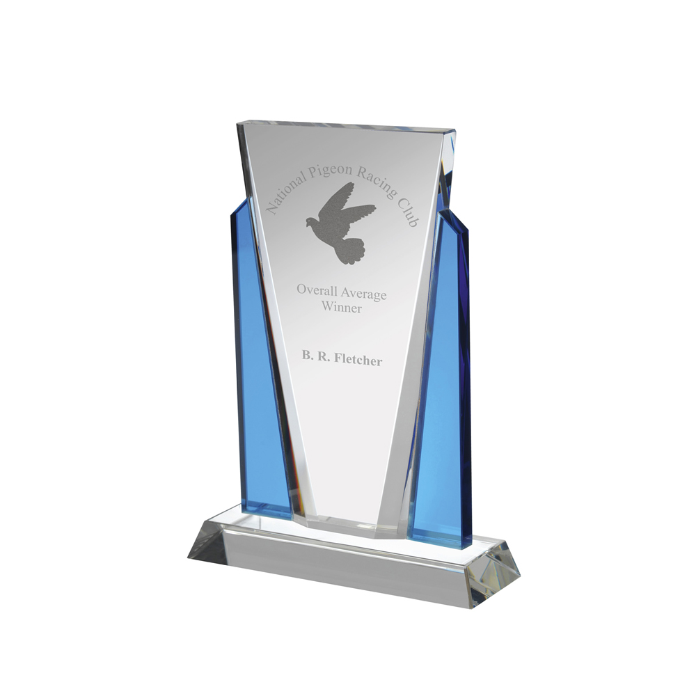 7 Inch Traditional Clear & Blue Crystal Award