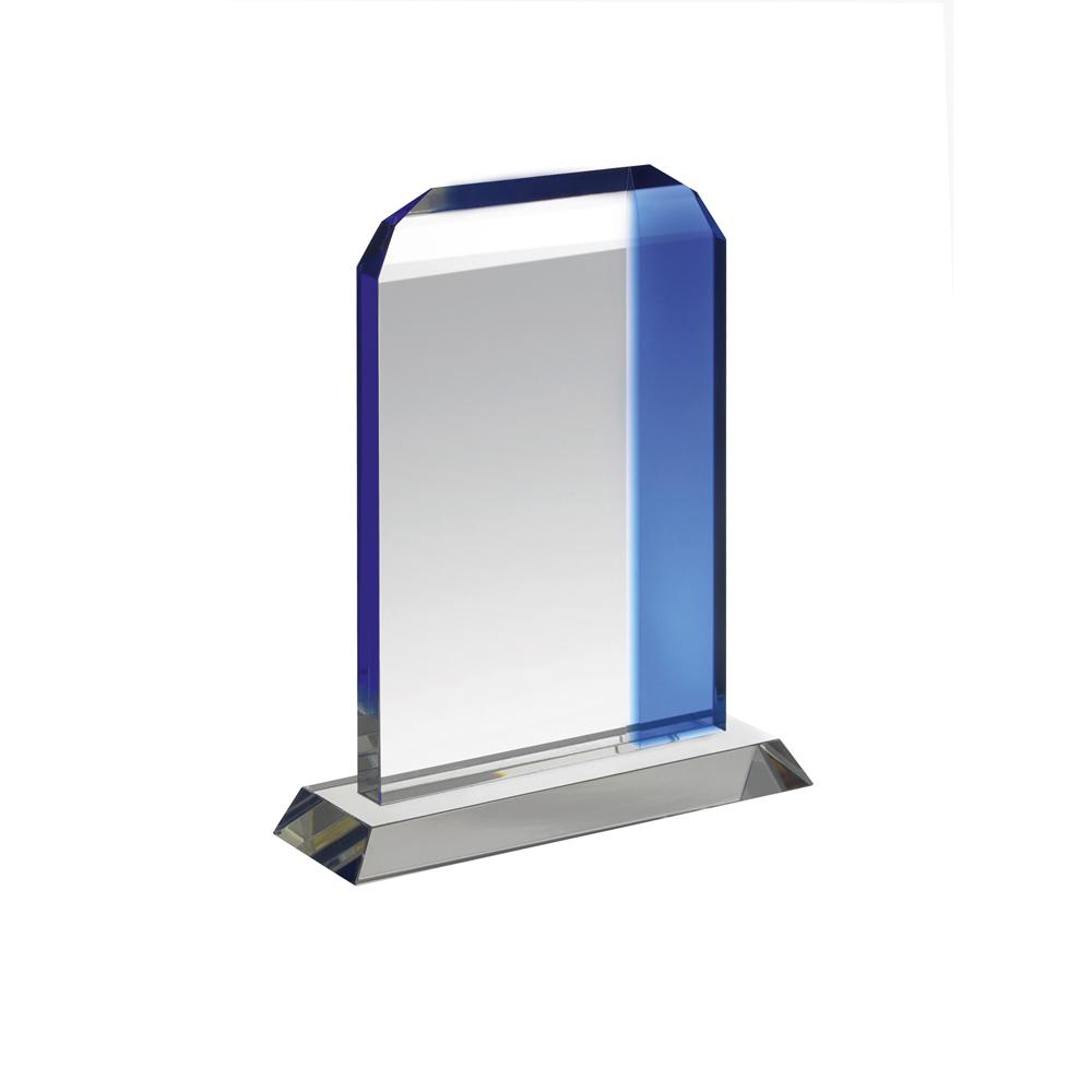7 Inch Clear & Blue Classic Pane Crystal Award