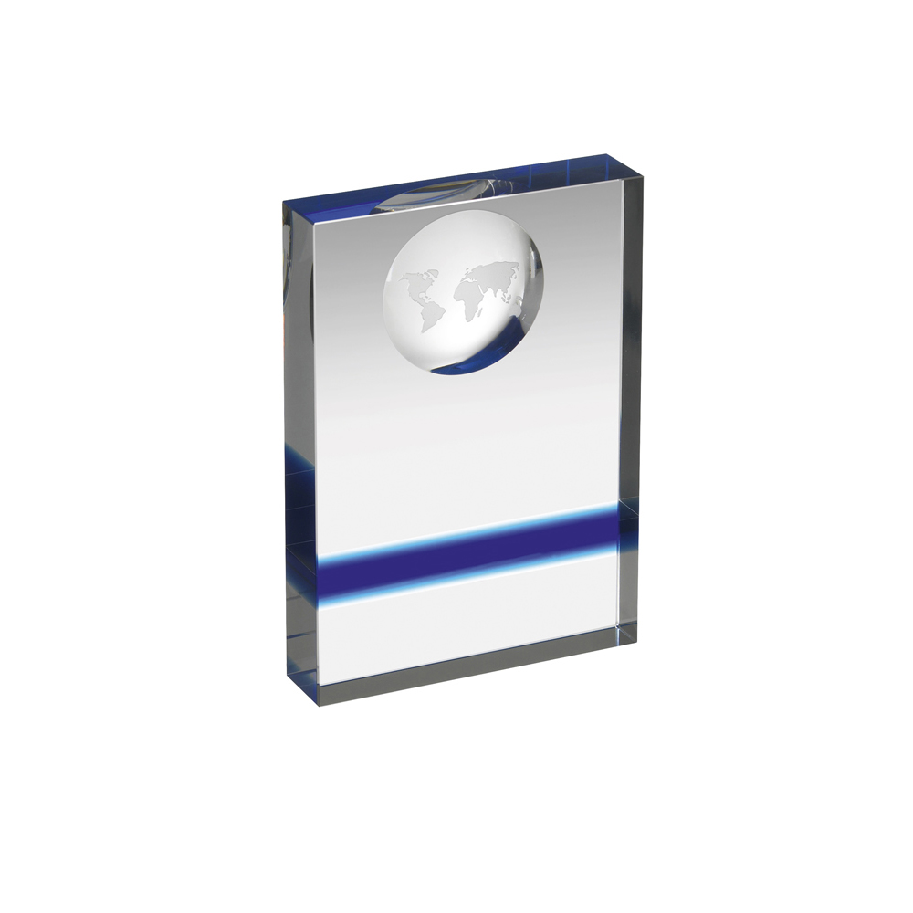 6 Inch Rectangular Block With Globe Crystal Award