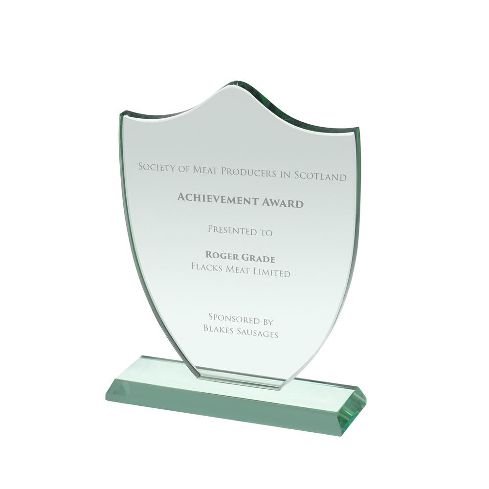 8 Inch Shield Crystal Award
