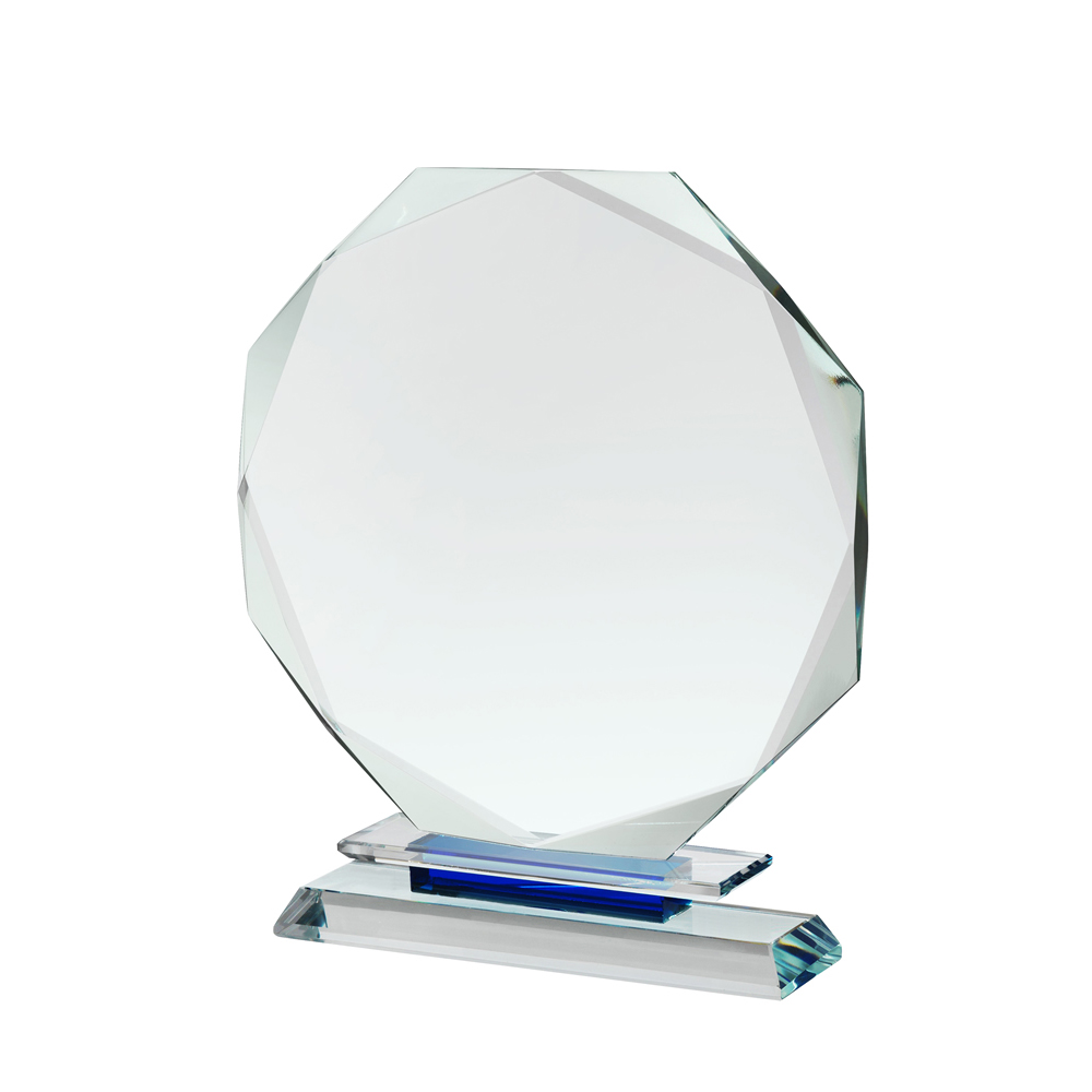 9 Inch Clear & Blue Octagon Crystal Award
