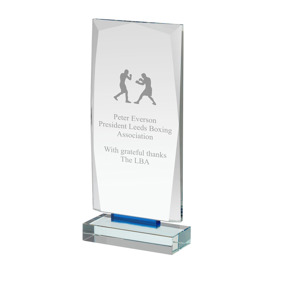 8 Inch Tall Clear & Blue Rectangle Crystal Award
