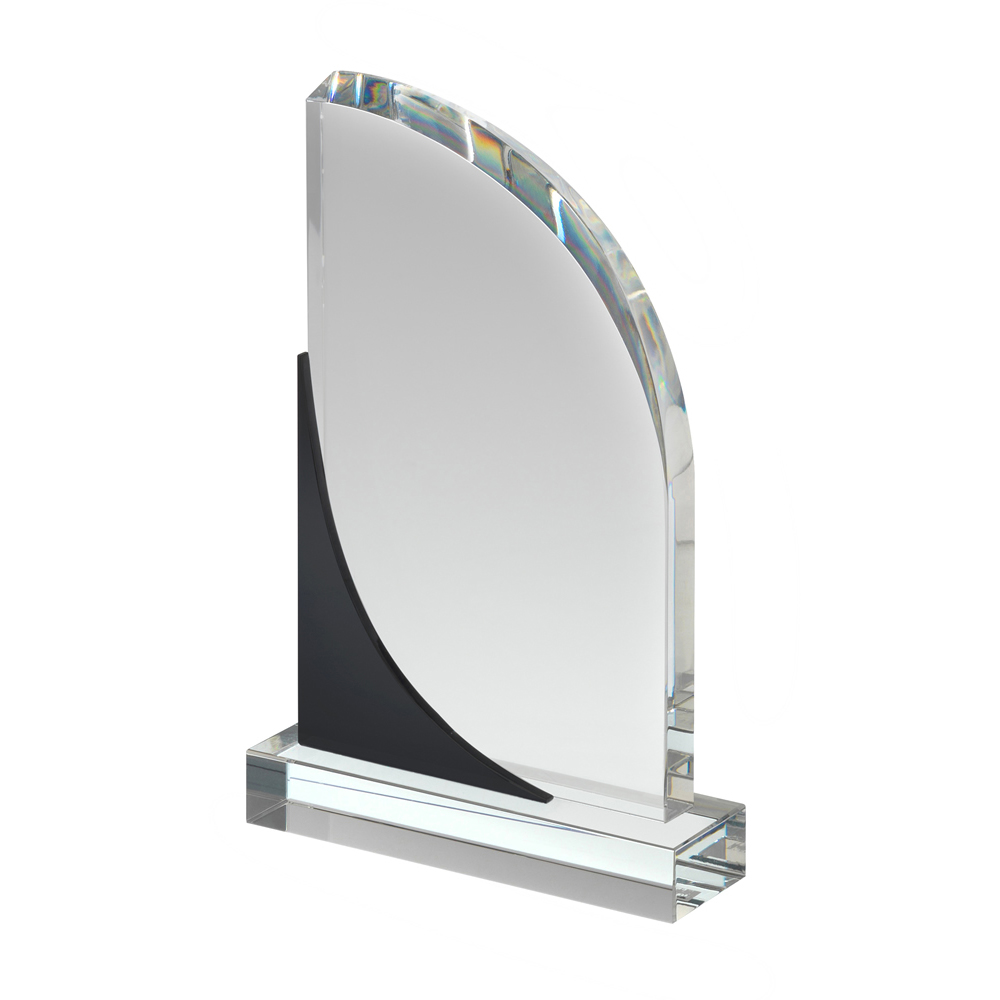 7 Inch Curved Sail Black & Clear Crystal Award