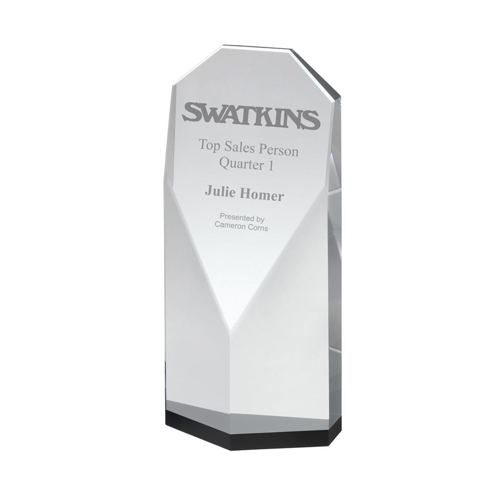 8 Inch Flat Panel Black & Clear Crystal Award
