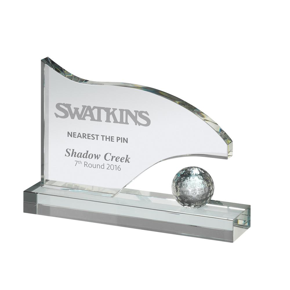 6 x 8 Inch Flag & Ball Golf Crystal Award