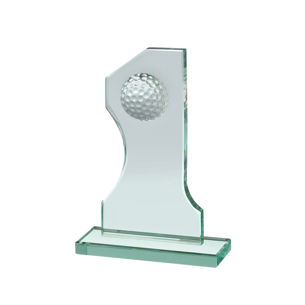 9 Inch No. 1 Plaque With Ball Golf Crystal Award