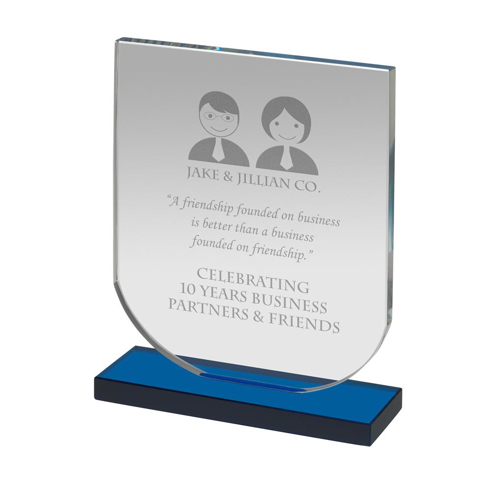 5 Inch Blue Based Shield Optics Award