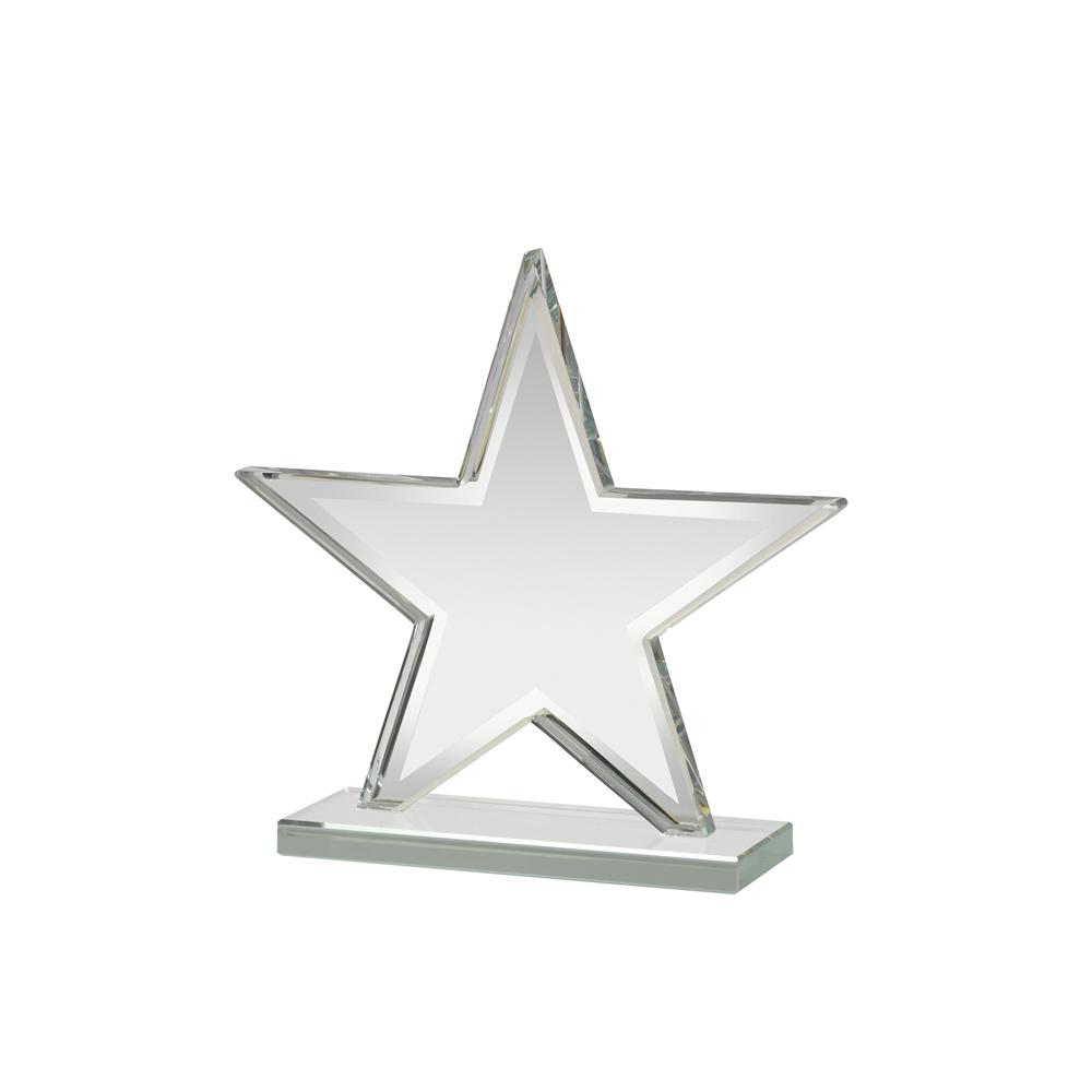 6 Inch Mirrored Edge Star Mirror Award