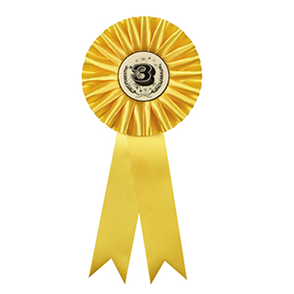 5 x 12 Inch Yellow Centre Holder Equestrian Streamer Rosette