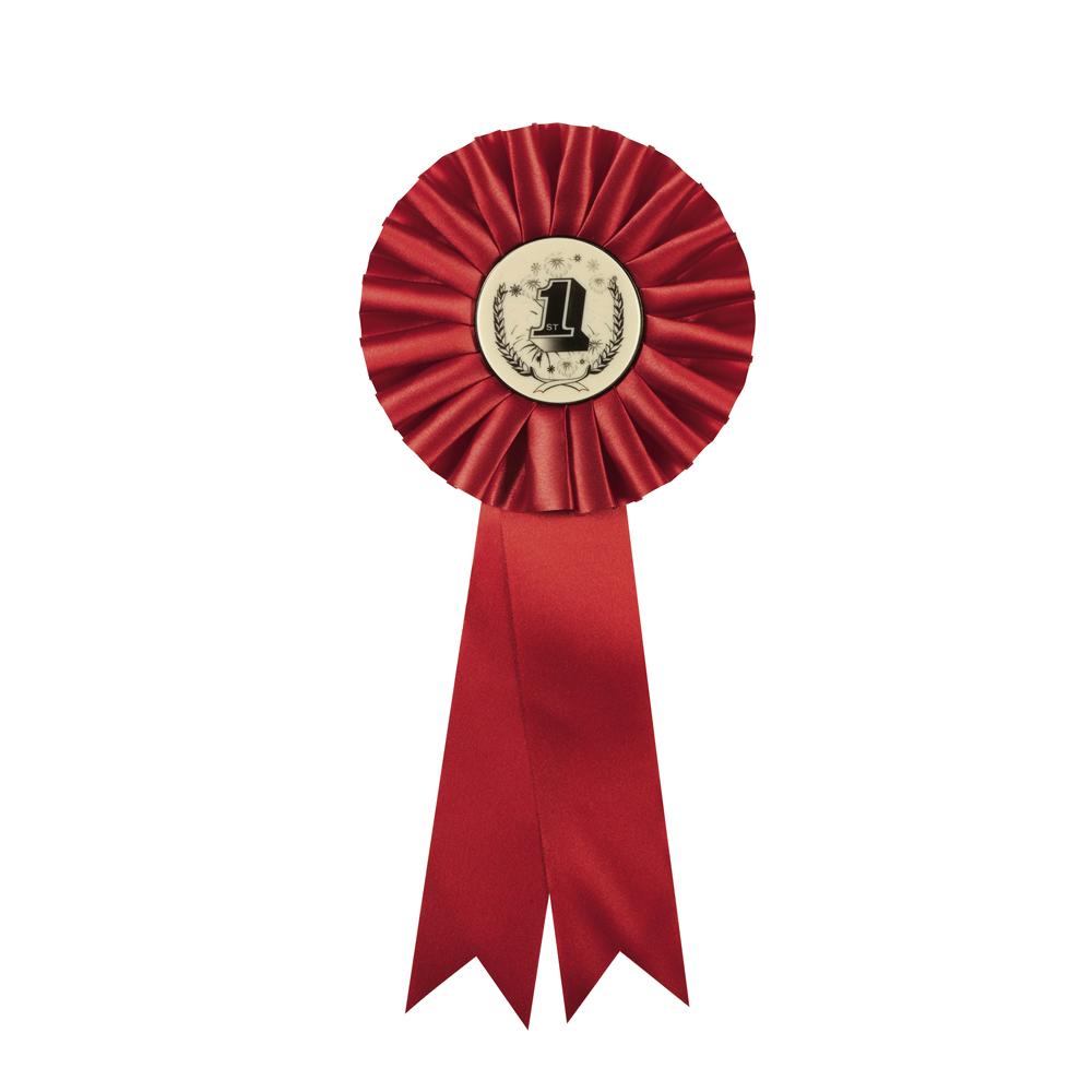 5 x 12 Inch Red Centre Holder Equestrian Streamer Rosette