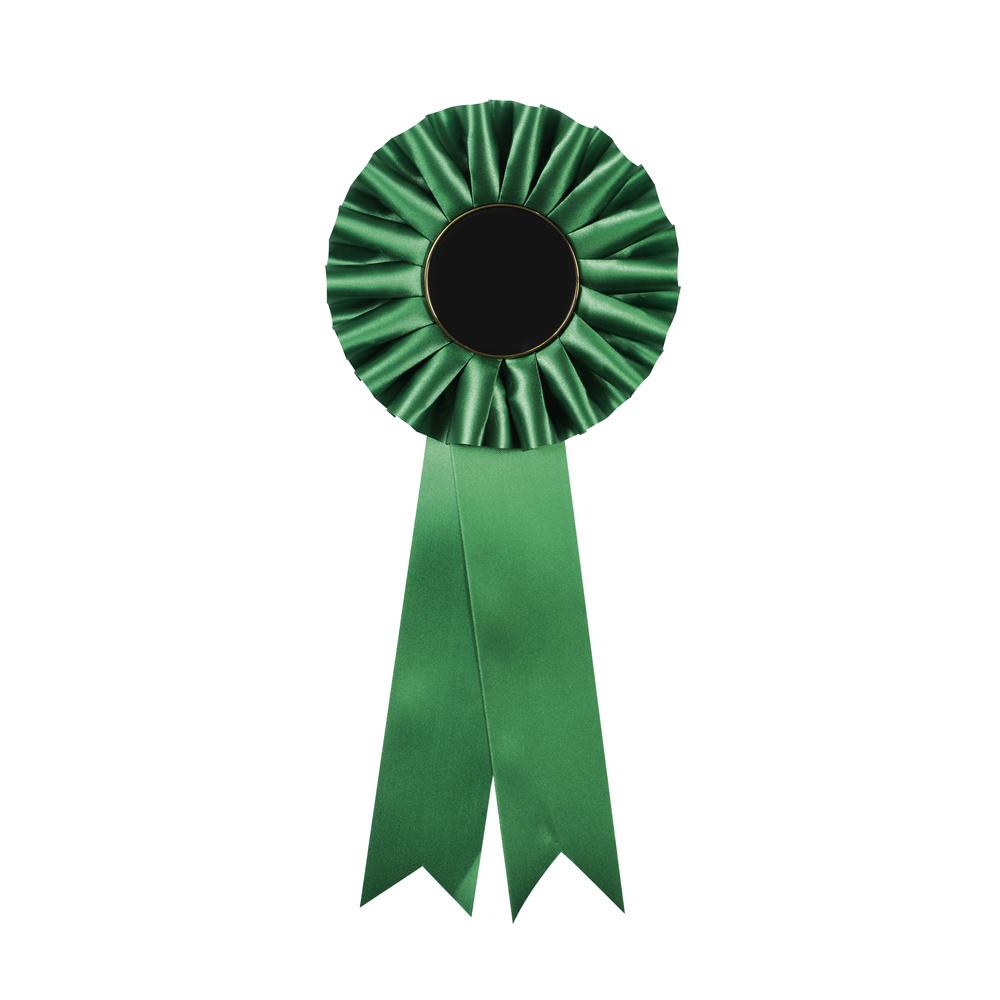 5 x 12 Inch Green Centre Holder Equestrian Streamer Rosette