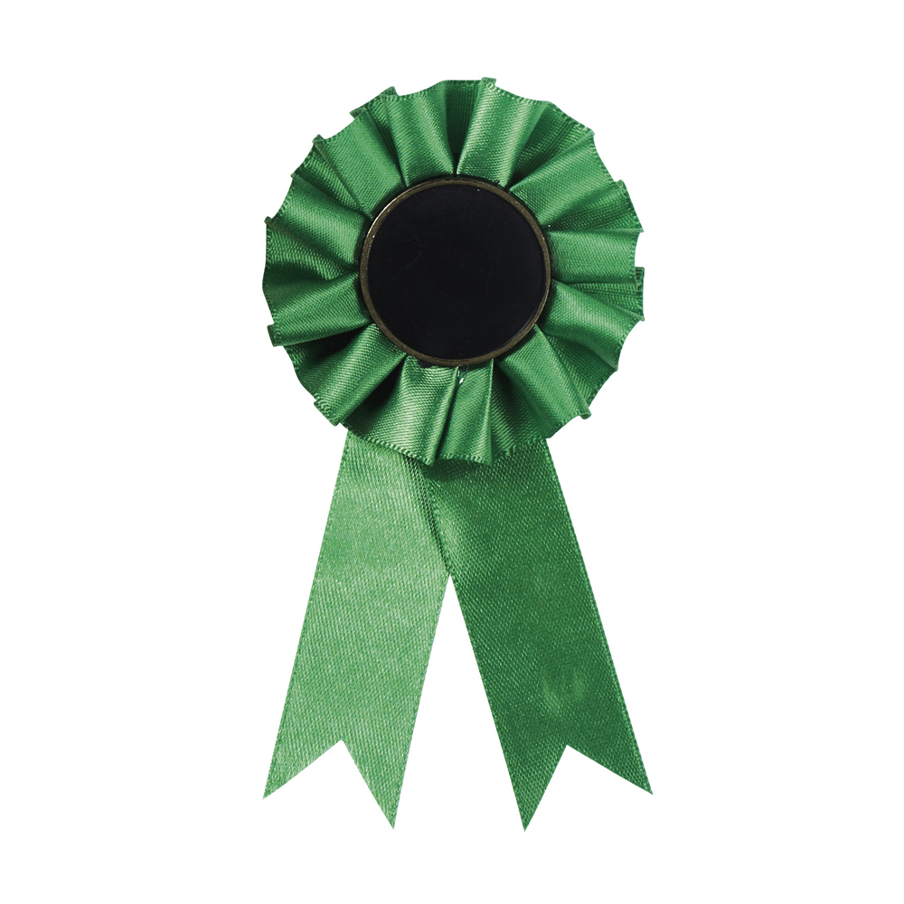 3 x 12 Inch Green Centre Holder Equestrian Streamer Rosette