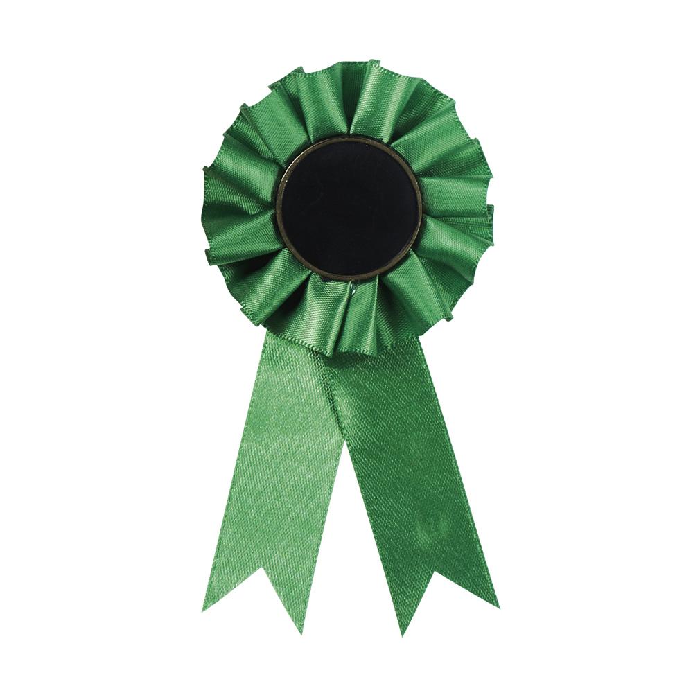 3 x 12 Inch Green Centre Holder Equestrian Streamer Rosette