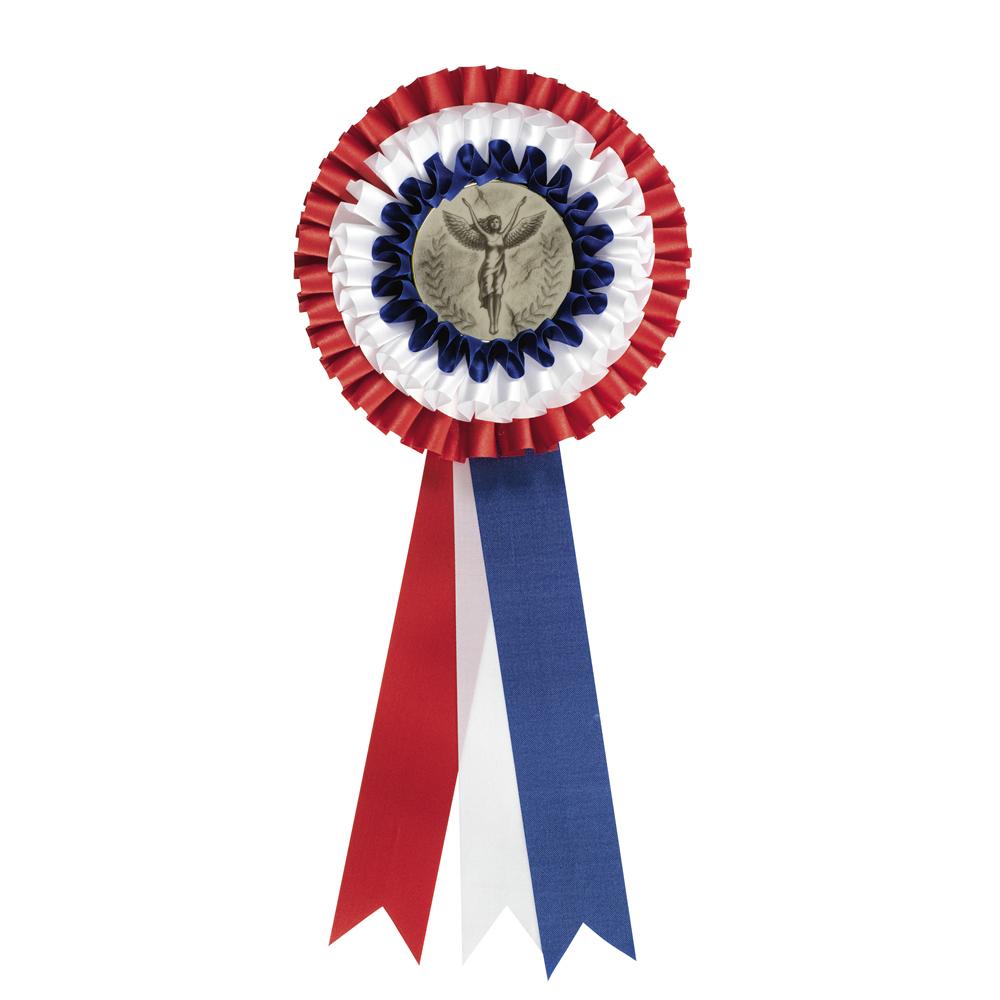 5 x 12 Inch Red White & Blue Centre Holder Equestrian Streamer Rosette