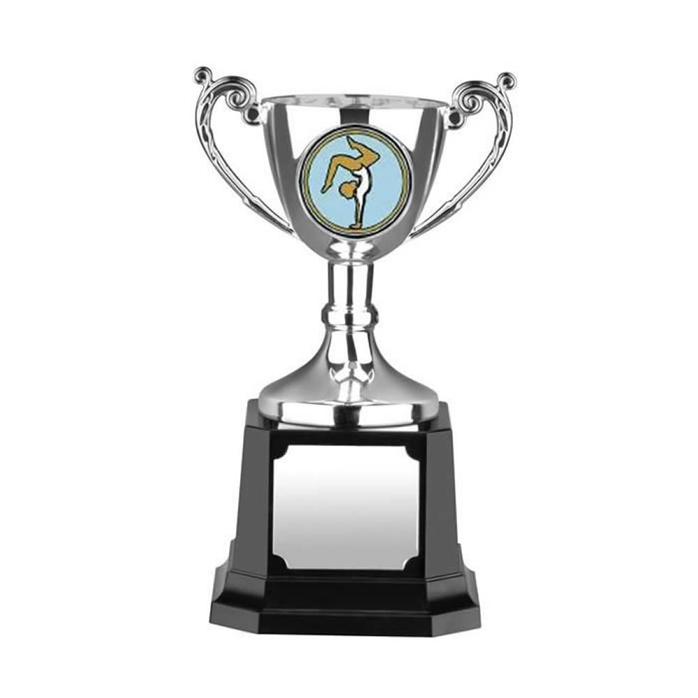 5 Inch Silver Finish Leaf Handle Worldwide Trophy Cup