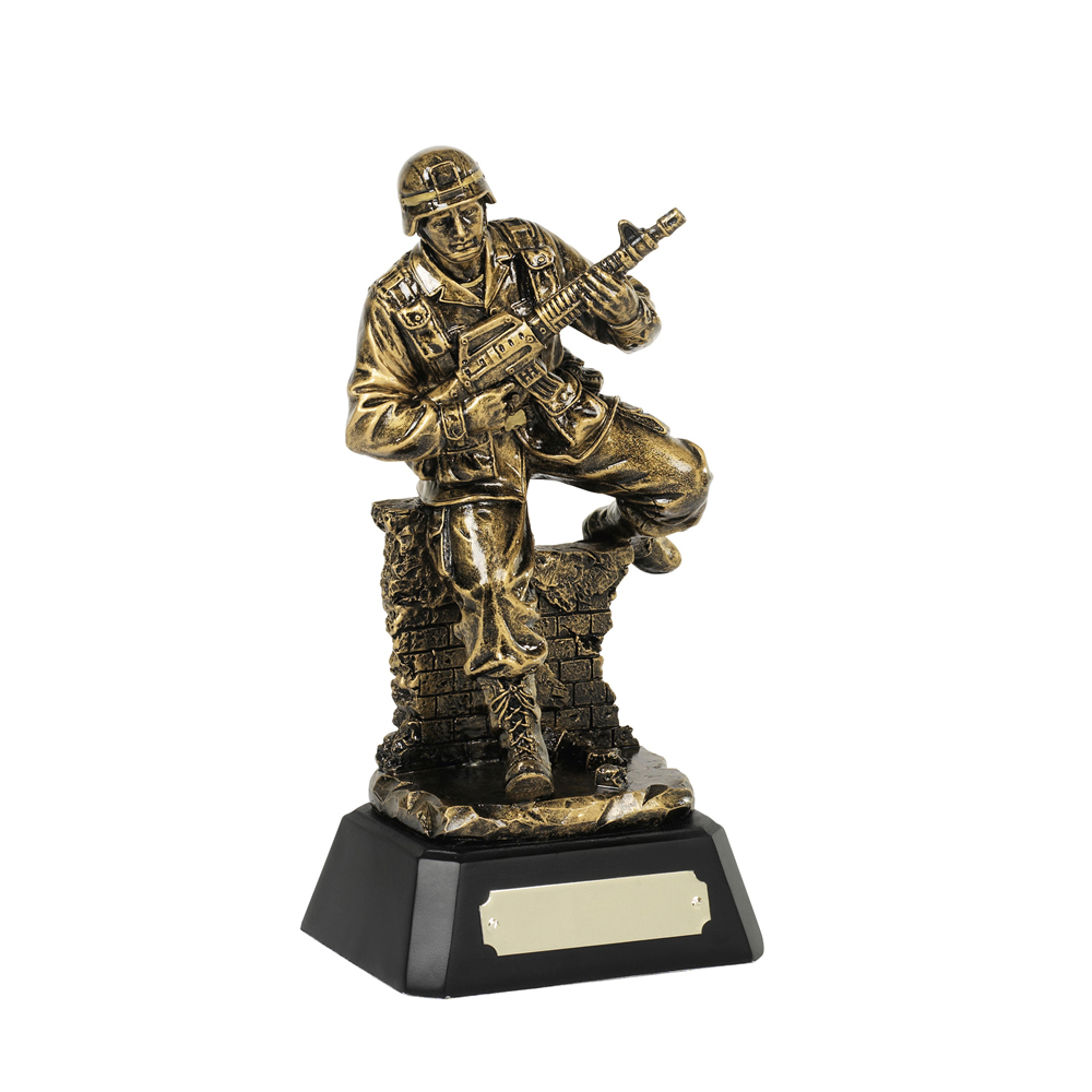 8 Inch Soldier Military Resin Figure Award