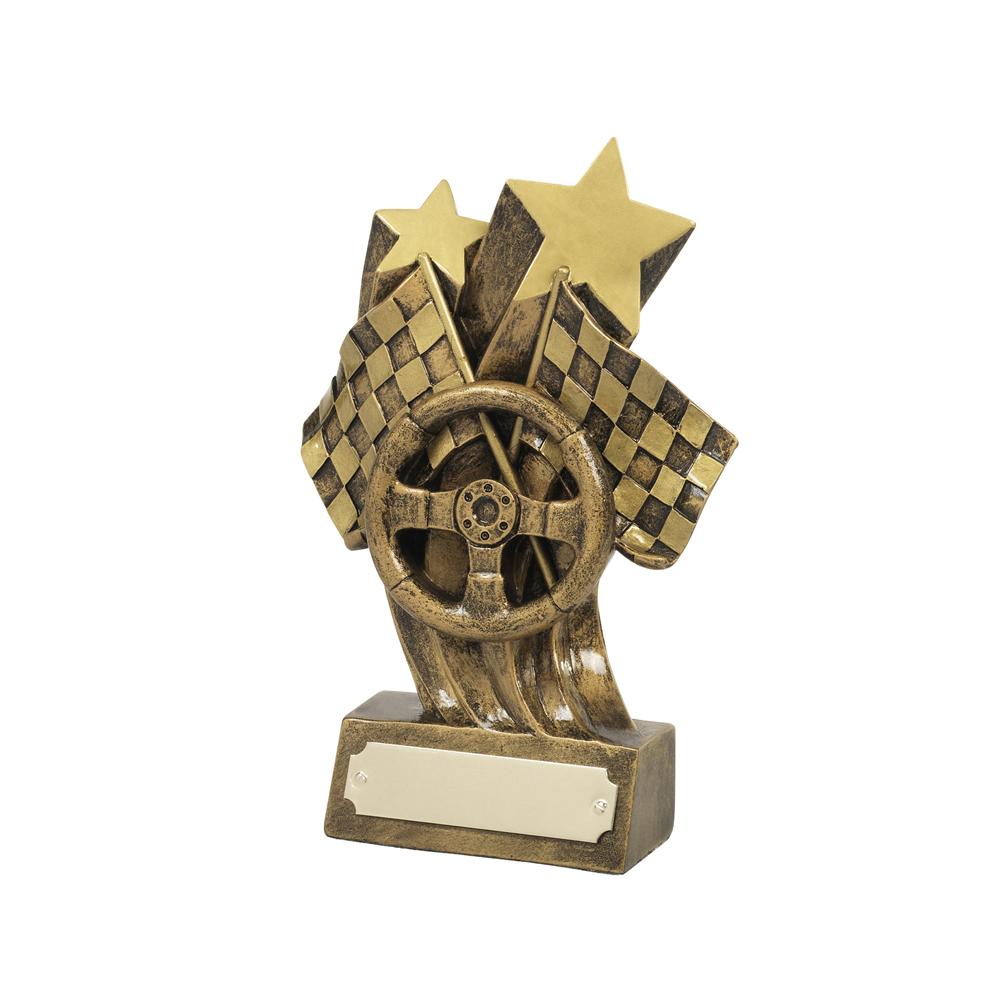 6 Inch Wheel & Stars & Flags Motor Racing Resin Award