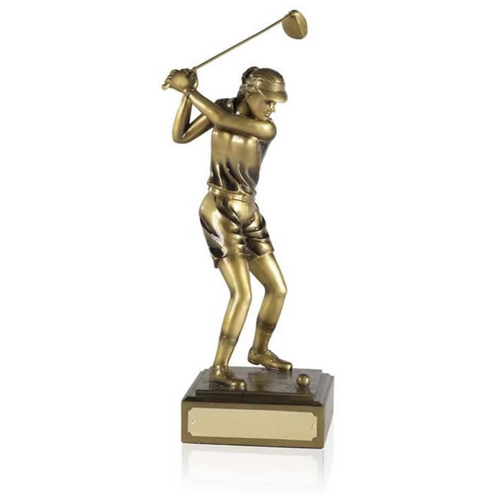 11 Inch Female Full Swing Golf Antiquity Figure Award