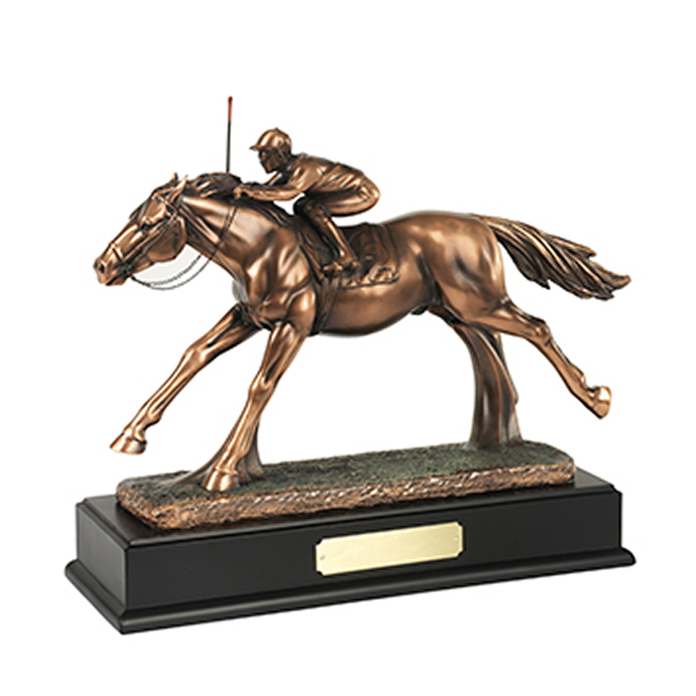 11 x 13 Inch Horse & Jockey Equestrian Resin Sculpture