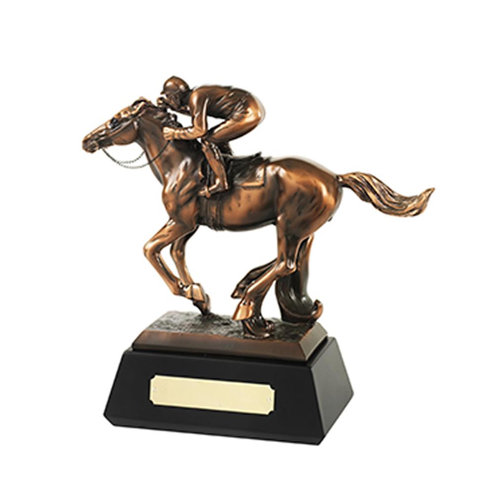 10 x 10 Inch Horse & Jockey Equestrian Resin Sculpture