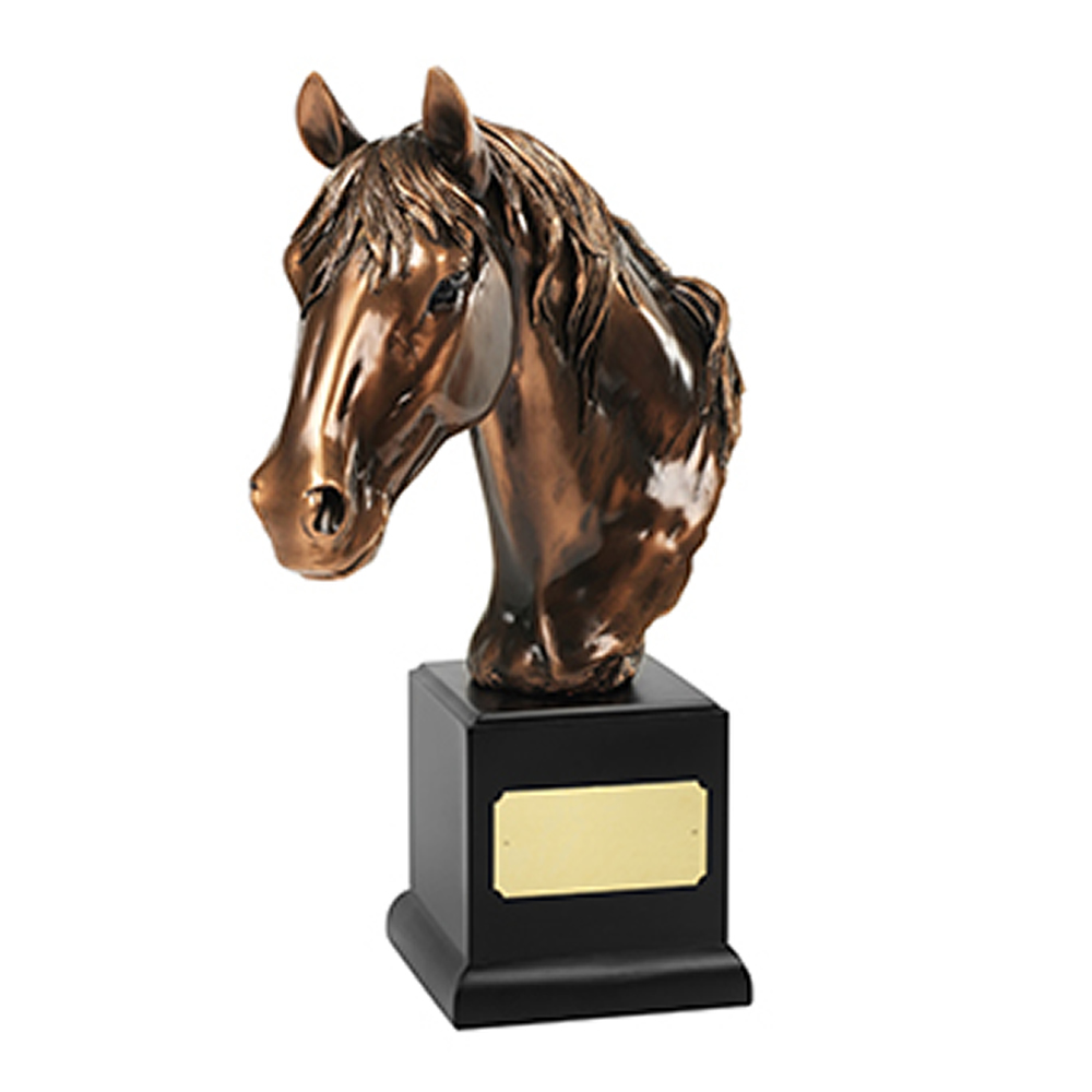 14 x 10 Inch Large Horses Head Equestrian Resin Sculpture