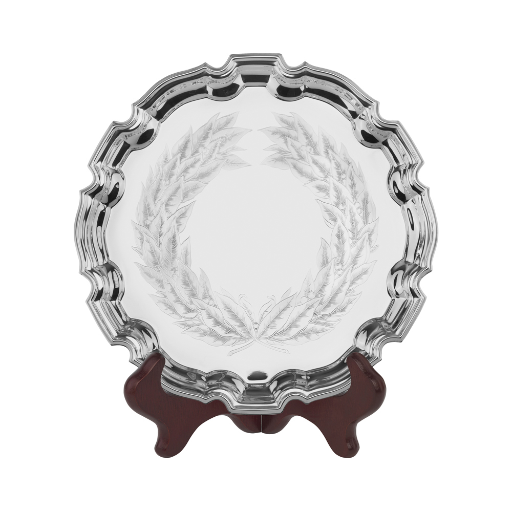 10 Inch Laurel Wreath Inlay Jaunlet Chippendale Tray